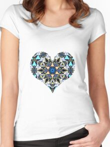 creamy and blue mandala pattern Women's Fitted Scoop T-Shirt