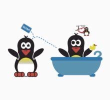 Bathroom Penguin - Rub-a-dub-dub in the Tub by jimcwood