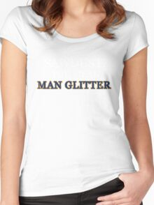 Sawdust Is Man Glitter Woodworking Funny Father Gift Women's Fitted Scoop T-Shirt