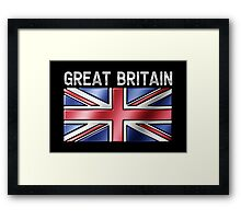 Great Britain - British Flag & Text - Metallic Framed Print