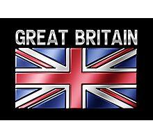 Great Britain - British Flag & Text - Metallic Photographic Print