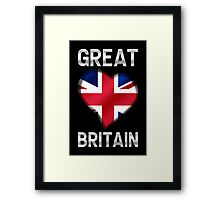 Great Britain - British Flag Heart & Text - Metallic Framed Print