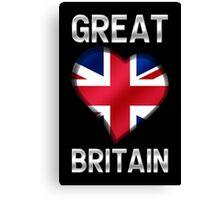 Great Britain - British Flag Heart & Text - Metallic Canvas Print