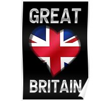 Great Britain - British Flag Heart & Text - Metallic Poster