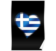 Greek Flag - Greece - Heart Poster