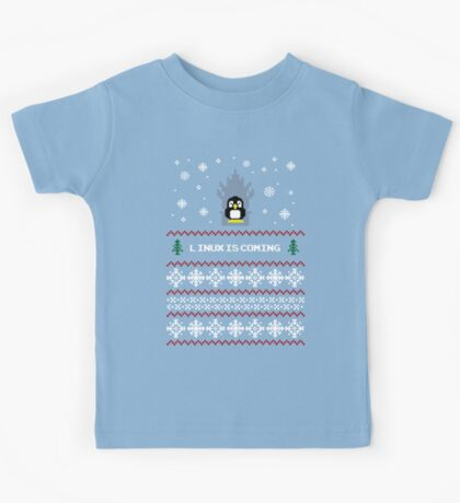 LINUX IS COMING - CHRISTMAS SWEATER Kids Tee