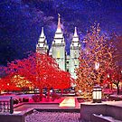 Christmas At Temple Square 20x24 by Ken Fortie
