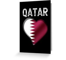 Qatar - Qatari Flag Heart & Text - Metallic Greeting Card