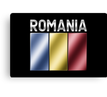 Romania - Romanian Flag & Text - Metallic Canvas Print