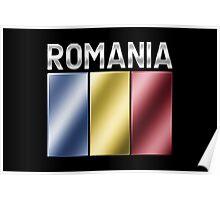 Romania - Romanian Flag & Text - Metallic Poster