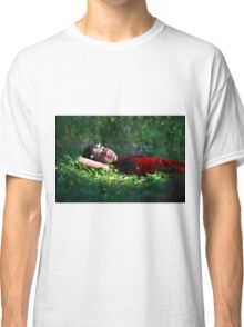 Young girl of 12 with red dress and a wreath, relaxing outdoors  Classic T-Shirt
