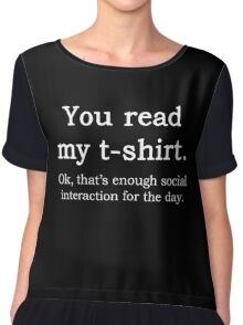 Funny Sarcastic English Quote Read My T-Shirt Graphic Tee Chiffon Top