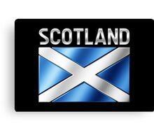 Scotland - Scottish Flag & Text - Metallic Canvas Print
