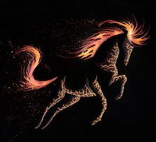 Minimal Abstract Fire Horse by Anila Tac