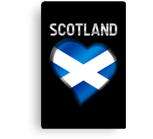 Scotland - Scottish Flag Heart & Text - Metallic Canvas Print