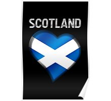 Scotland - Scottish Flag Heart & Text - Metallic Poster