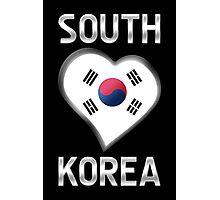 South Korea - South Korean Flag Heart & Text - Metallic Photographic Print