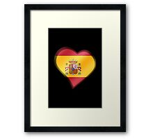 Spanish Flag - Spain - Heart Framed Print