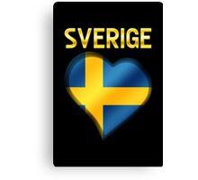 Sverige - Swedish Flag Heart & Text - Metallic Canvas Print