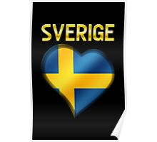 Sverige - Swedish Flag Heart & Text - Metallic Poster