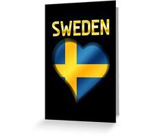Sweden - Swedish Flag Heart & Text - Metallic Greeting Card