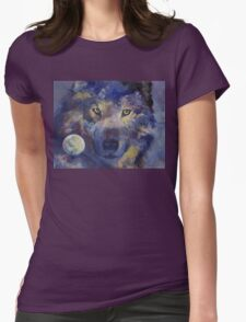 Grey Wolf Moon Womens Fitted T-Shirt