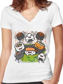 Sushi Victory Women's Fitted V-Neck T-Shirt