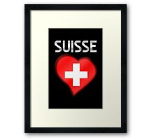 Suisse - Swiss Flag Heart & Text - Metallic Framed Print