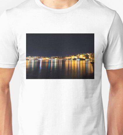 Maltese Glow - Valletta Malta Grand Harbour at Night Unisex T-Shirt