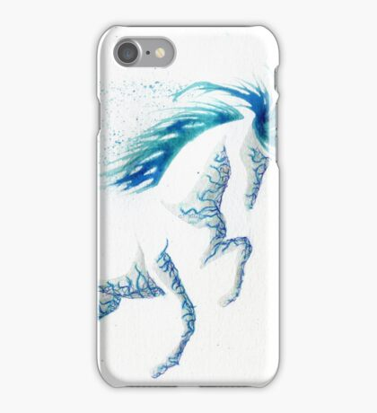 Minimal Abstract Blue Ocean Breeze Horse iPhone Case/Skin