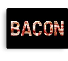 Bacon - Glass Lettering - Woven Strips Photograph Canvas Print