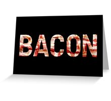 Bacon - Glass Lettering - Woven Strips Photograph Greeting Card
