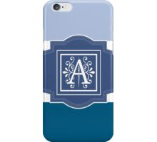 Shades of Blue Monogrammed Design iPhone Case/Skin
