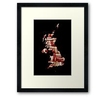 United Kingdom - British Bacon Map - Woven Strips Framed Print