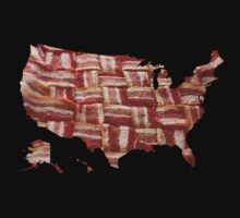 USA - American Bacon Map - Woven Strips by graphix