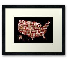 USA - American Bacon Map - Woven Strips Framed Print
