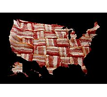 USA - American Bacon Map - Woven Strips Photographic Print