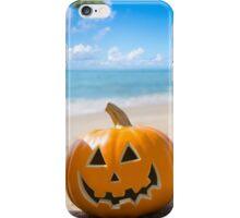 Halloween pumpkin on the beach iPhone Case/Skin