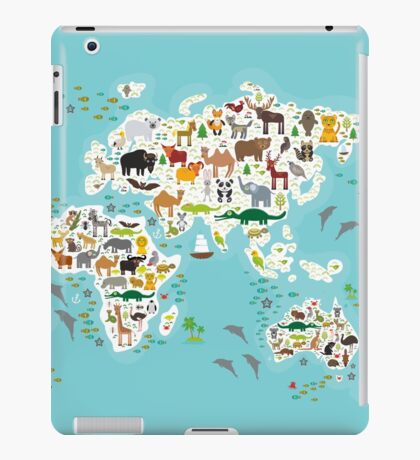 Cartoon animal world map for children iPad Case/Skin