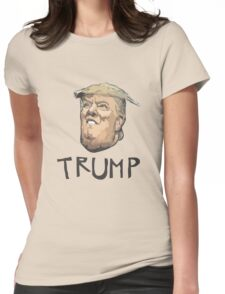 Donald Trump cartoon toon drawing funny crazy election Womens Fitted T-Shirt