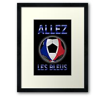 Allez Les Bleus - French Football & Text - Metallic Framed Print