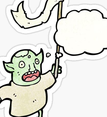 cartoon goblin waving flag Sticker