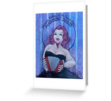 Accordion Annie, Whiskered Mistress of the Squeeze Box Greeting Card