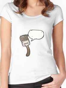 cartoon paintbrush Women's Fitted Scoop T-Shirt