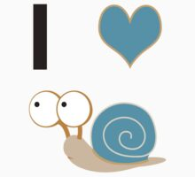 I heart Snails - blue Shell Kids Clothes