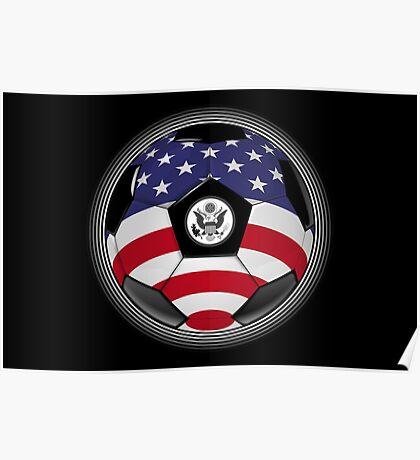 USA - American Flag - Football or Soccer Poster
