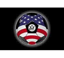 USA - American Flag - Football or Soccer Photographic Print