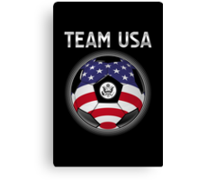 Team USA - American Flag - Football or Soccer Ball & Text Canvas Print