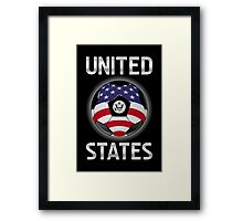 United States - American Flag - Football or Soccer Ball & Text Framed Print