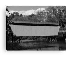 Covered Bridge BW Canvas Print